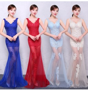 Robe De Soiree Mermaid Royal blue red turquoise bridesmaid Long Evening Dress Party Elegant Vestido De Festa Long Prom Gown