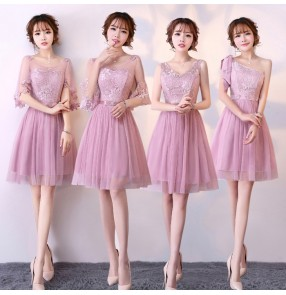 Robe Demoiselle D'honneur Cheap silver pink champagne Lace Convertible Long Bridesmaid Dresses Short length Elegant A Line Wedding Party Dress
