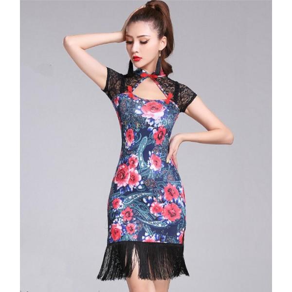 44762ab51fd4 Rose flowers women s latin dance dress women salsa rumba modern ...