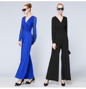 Royal blue black Loose Women long sleeves Jumpsuits Sexy V-neck Romper Bodycon Lady  Jumpsuits long pant Jumpsuits