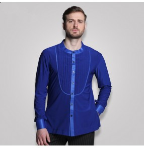 Royal blue black male adult ballroom women rumba chacha Latin samba dance dress  Men's shirts Latin shirt