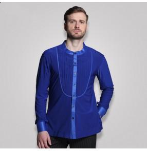 Royal blue black male adult ballroom women rumba chacha Latin samba dance dress  Men's shirts Latin shirt