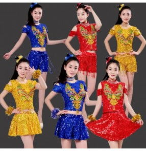 Royal blue gold red sequins paillette women's growth modern dance jazz singers hot dance hip hop popping dance outfits costumes