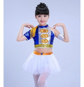 Royal blue gold silver leather girls kid children cheerleaders competition performance rehearsal jazz hip hop dance dresses