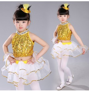 Royal blue gold yellow white patchwork sequins paillette princess girls kids children stage performance modern dance jazz dancing outfits costumes
