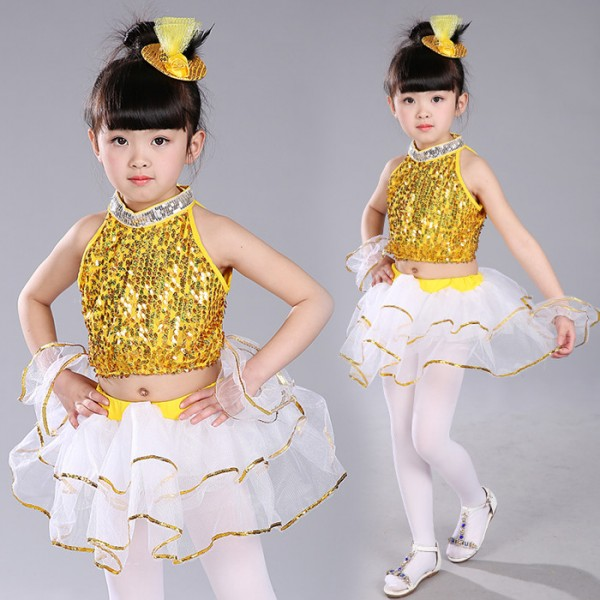 41317725d44d Royal blue gold yellow white patchwork sequins paillette princess girls ...