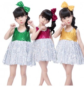 Royal blue green gold sequins silver patchwork girls boys kids children jazz singers dancers dance costumes outfits