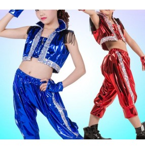 Royal blue red paillette sequined pu leather girls kids child children toddlers boys growth   jazz dance dj singer hip hop modern dance stage performance dance costumes set