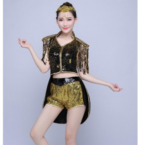 Royal blue red silver gold paillette modern dance dj ds singers dancers cosplay night club jazz dance tuxedo tops outfits costumes