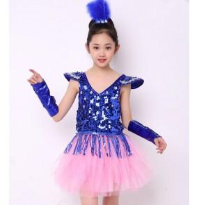 Royal blue sequins light pink patchwork princess girls kids children performance school play jazz singers dance dresses