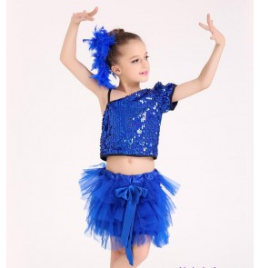 Royal blue sequins modern dance toddlers girls kids children hip hop jazz singers performance dancing outfits costumes