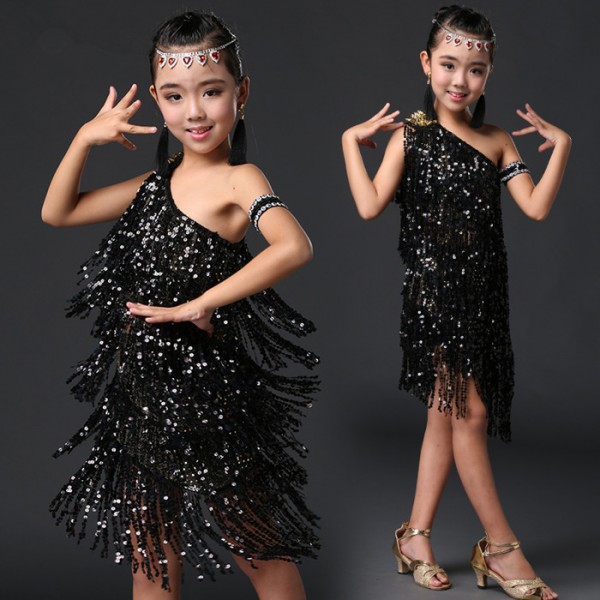 e924b306c26c Sequins black red royal blue Stage Tassel Competition Latin Dance Dress For Girls  Dress Practice Dancing Dress Girl Dancewear Kids