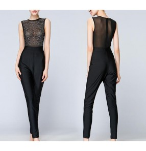 sexy mesh jumpsuit rompers Women shinny crystal beading bodysuit  Sleeveless o neck see-through party women tops