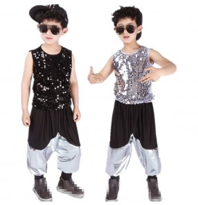 Silver black sequins paillette modern dance boys kids children hip hop jazz singers dance outfits costumes