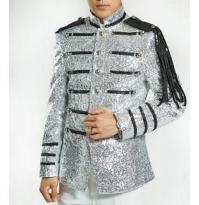 Silver blazer for men sequin glittering concert singers jazz jacket men stage costumes slim fit party suits men sequin blazer