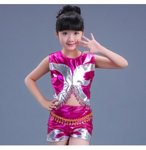 Silver fuchsia hot pink gold patchwork leather short sleeves girls kids children hip hop jazz performance dance costumes