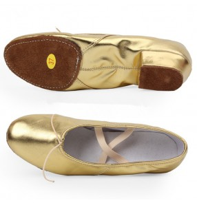 Silver gold patent leather glitter upper cow leather soft soles girls women's practice gymnastics ballet belly jazz dance shoes