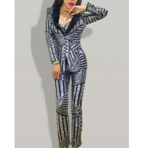 Silver paillette striped pattern women's ladies fashion sexy singers dancers solo performance dj night club performance outfits