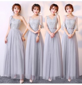 Silver pink Lace Simple A line long length Bridesmaid Dress Maid of Honor Dress Vestido Para Madrinha De Casamento