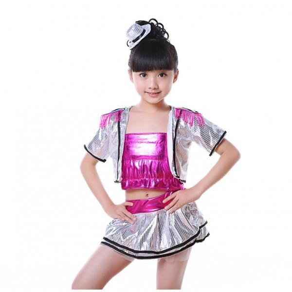 7b7a4ffe1a5b Silver sequins hot pink glitter patchwork girls modern dance jazz singers dancers  hip hop dance outfits dresses