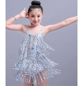 Silver white sequins paillette fringes girls kids children toddlers competition performance latin salsa dance dresses costumes
