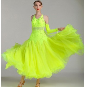 standard ballroom dress ballroom dance green yellow coral fuchsia rhinestones competition dresses waltz dress costume danse flamenco Dresses