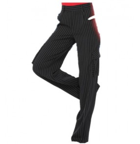 Striped black Ballroom Dance Pants Wide-Legged With Pocket Latin Dance Trousers Pants women Modern Dance Pants Dancewear