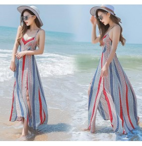 Striped floral printed chiffon ruffles short sleeves v  neck women's fashion summer  long length maxi Aline Maxi dresses vestidos