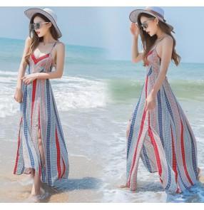 Striped floral printed chiffon ruffles short sleeves v  neck women's fashion summer  long length maxi Aline Maxi dresses vestidos