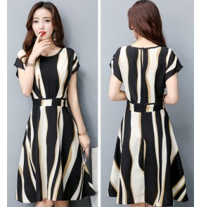 striped girls women's ladies korean style fashion A Line slim dresses