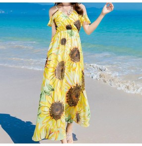 Sun flowers chiffon girls women's off shoulder boat neck slim waist korean style dresses