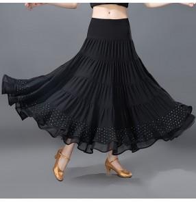 Swing black plated Latin Ballroom Dance Skirt Square Dancing Rhinestones skirts long length Modern Social Dance National Standard Waltz Skirt