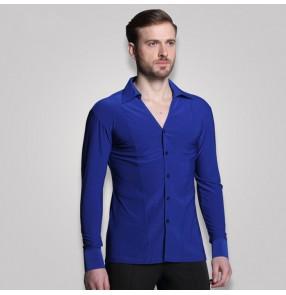 Trendy royal blue white Stage Performance v neck Shirt Long Sleeve Ballroom Dance Costumes Men Shirt Latin Modern Dance Clothing