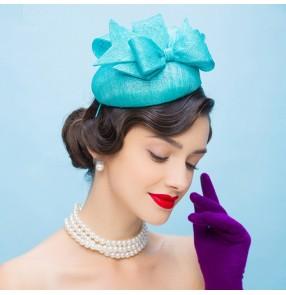 Turquoise Black women's facinators feather pillbox hat wedding party fedoras 100% linen