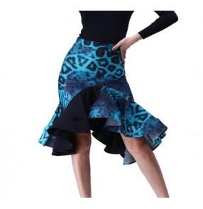 Turquoise blue leopard printed ruffles irregular hem skirts women's ladies competition performance latin salsa dance skirts