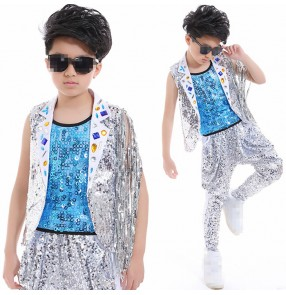 Turquoise silver sequins 3in1 patchwork fashion boys kids children competition drummer performance hip hop jazz singers dance outfits