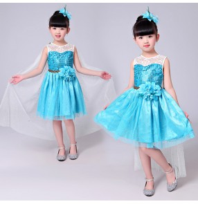 Turquoise white lace patchwork princess girls performance jazz singers dancers dancing dresses outfits