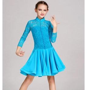 Turquoise white red Latin Dance Dress Children Girls Dance Dresses Girl Samba Dress Modern Dance Costumes For Kids Club Dresses