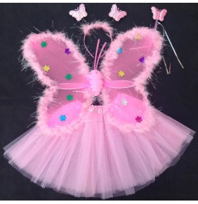 Turquoise yellow hot pink fuchsia white feather princess girls fairy angels wings  and skirts performance party cosplay dance props costumes
