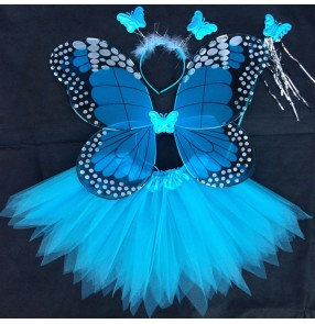 Turquoise yellow hot pink light pink  green fairy girls kids party cosplay dance props angel princess butterfly wings skirts costumes