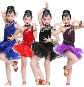 Velvet rhinestones one shoulder fashion girls kids children performance cha cha latin salsa dance dresses