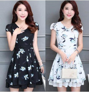 Vintage fashion printed floral pattern women's ladies female long length short sleeves summer dresses vestidos