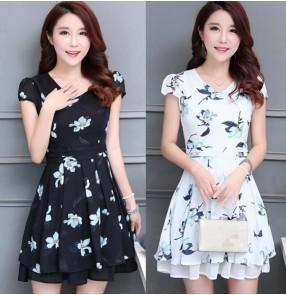 Vintage fashion printed floral pattern women's ladies female long length short sleeves summer dresses vestidos