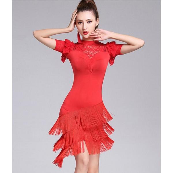 52d9ba7dc Violet black red royal blue women ladies Latin dance dresses costume short  sleeves tassel latin dance dress for women latin dance costumes