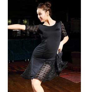 Violet Latin Dance Dresses Suits Women black Sexy lace Skirt Ballroom/Tango/Rumba/Latin Dresses  For Dancer