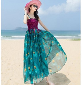 Violet purple blue green fuchsia hot pink v neck short sleeves  women's girls chiffon material A line floral beach maxi dresses