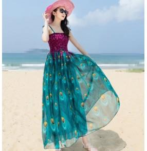 Violet purple blue green fuchsia hot pink v neck short sleeves  women's girls chiffon material A line floral beach maxi dresses