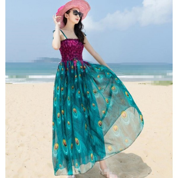 7b144ce43 Violet purple blue green fuchsia hot pink v neck short sleeves women's  girls chiffon material A line floral beach maxi dresses