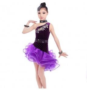 Violet purple velvet rhinestones competition girls latin dance Dress Child Girls Kids Latin Dresses Girls salsa cha cha Dance dresses Costumes