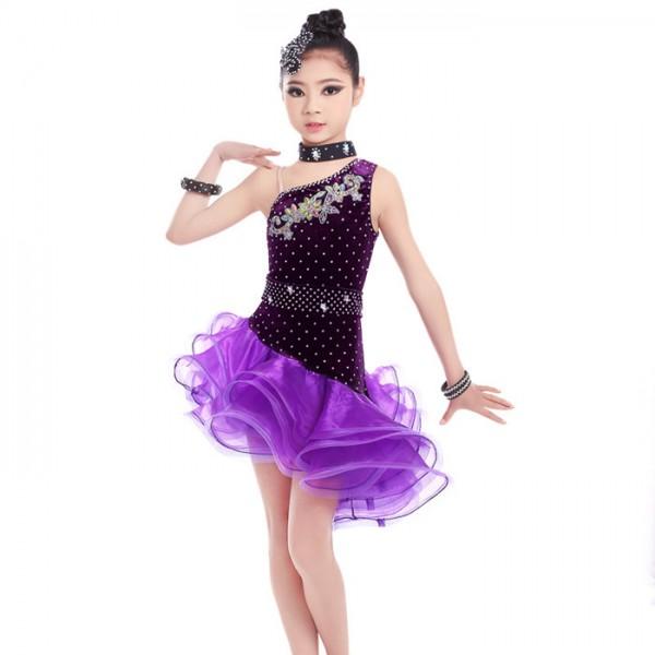 a3c4aa522 Violet purple velvet rhinestones competition girls latin dance Dress ...